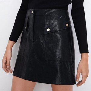 Brand new Zara black leather skirt with buttons